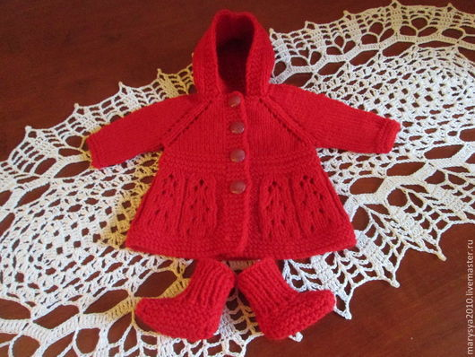 Одежда для кукол ручной работы. Ярмарка Мастеров - ручная работа. Купить Пальто и башмачки для пупса. Handmade. Ярко-красный
