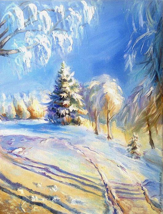 Картина `Зима` 40x30 см Доставка по всему миру авиа почтой бесплатно.  Картина маслом - красивый подарок на Рождество, Новый Год,  юбилей, день рождения и другие праздники.