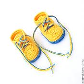 Работы для детей, handmade. Livemaster - original item booties for a boy, knitted booties, booties shoes, yellow. Handmade.