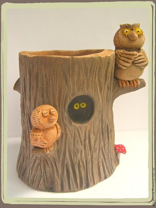 """Карандашницы ручной работы. Ярмарка Мастеров - ручная работа. Купить Карандашница """"Совушки"""". Handmade. Карандашница, авторская керамика, совы, коричневый"""