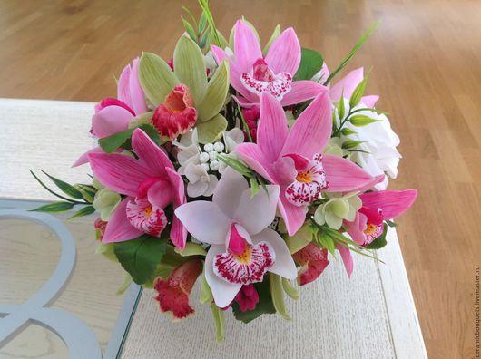 Букеты ручной работы. Ярмарка Мастеров - ручная работа. Купить Букет с орхидеями.. Handmade. Комбинированный, подарок маме