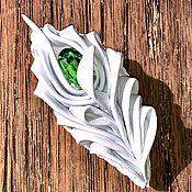 Украшения handmade. Livemaster - original item Snow white brooch(Leather). Handmade.