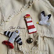 Украшения handmade. Livemaster - original item Seafood set brooches Seagull lighthouse Airplane white red grey. Handmade.