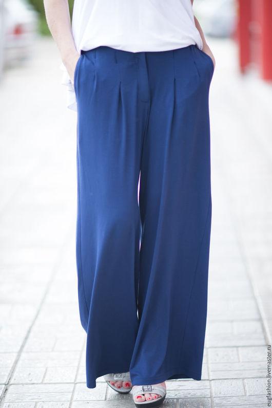Брюки, Женские брюки, Широкие брюки, Трикотажные брюки, Брюки с карманом, Комфортные брюки, Синие брюки,  ЕУГ