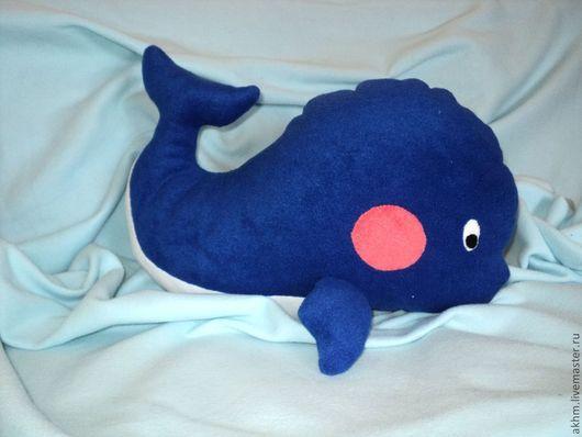 Детская ручной работы. Ярмарка Мастеров - ручная работа. Купить Интерьерная подушка (игрушка) Китенок. Handmade. Синий, детская, флис