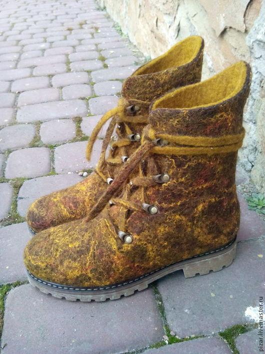 """Обувь ручной работы. Ярмарка Мастеров - ручная работа. Купить ботинки валяные """"Проминчики"""". Handmade. Оливковый, ботинки валяные"""