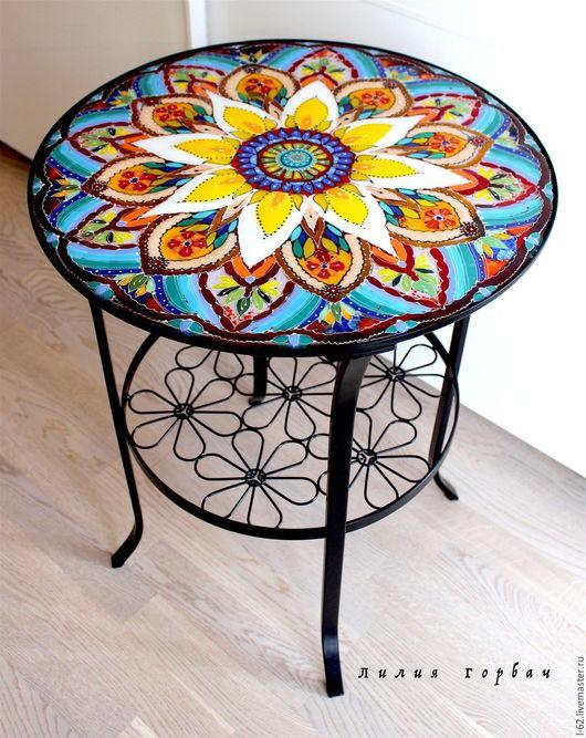 Мебель ручной работы. Ярмарка Мастеров - ручная работа. Купить столик Восточная сказка, стекло, фьюзинг. Handmade. Разноцветный