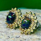 Украшения handmade. Livemaster - original item Sold. Silver stud earrings with opal and sapphires. Handmade.