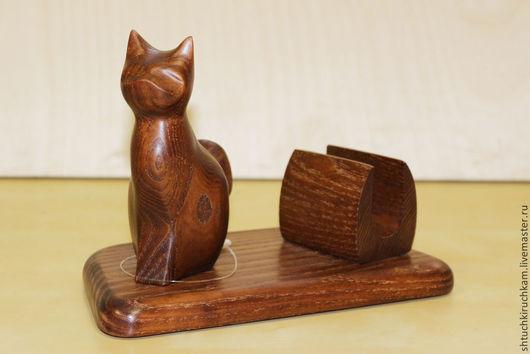 Подарочные наборы ручной работы. Ярмарка Мастеров - ручная работа. Купить визитница с кошкой сидящей. Handmade. Коричневый, визитница