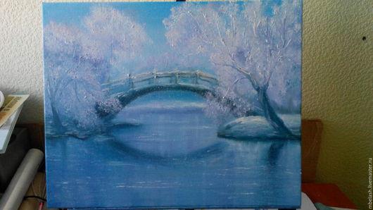 Пейзаж ручной работы. Ярмарка Мастеров - ручная работа. Купить Зимняя сказка. Handmade. Голубой, вода, заснеженный, масло