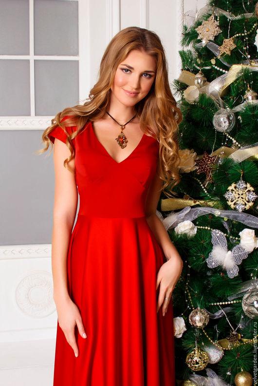 Нарядное красное длинное платье в пол, платье на каждый день