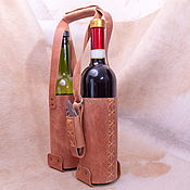 Сумки и аксессуары handmade. Livemaster - original item Holder, bag for 2 bottles of wine made of leather