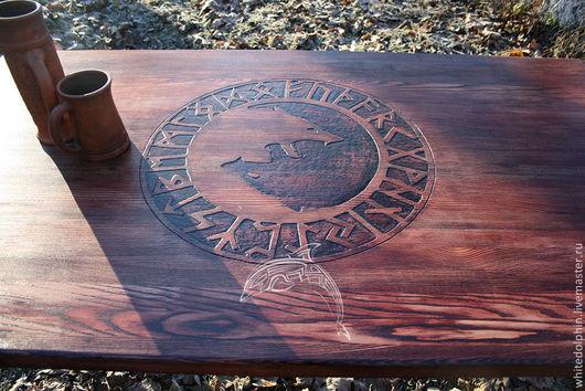 Мебель ручной работы. Ярмарка Мастеров - ручная работа. Купить Стол Одина. Handmade. Бордовый, мебель из дерева, скандинавский орнамент