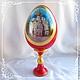 Яйцо пасхальное с миниатюрой расписное деревянное на фигурной подставке. Пасхальный сувенир. Подарок на Пасху.