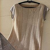 Льняное летнее платье (вязаное)