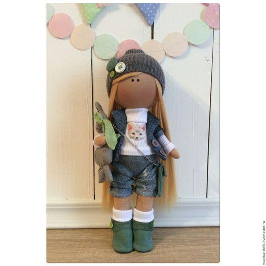 Куклы тыквоголовки ручной работы. Ярмарка Мастеров - ручная работа. Купить Интерьерная текстильная кукла большеножка Мила. Handmade. Голубой