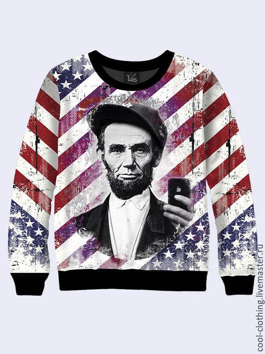 """Кофты и свитера ручной работы. Ярмарка Мастеров - ручная работа. Купить Кофта """"Линкольн Селфи"""". Handmade. Разноцветный, свитшот женский"""