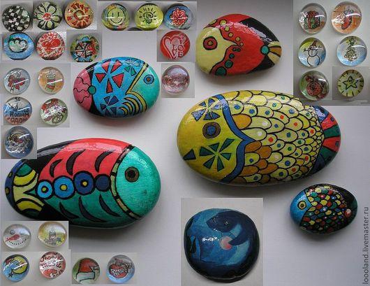 Магниты на холодильник из стекла(диаметр 1,5 см и 3 см) Цена: 20 руб. и 50 руб. Роспись по камню. Рыбки  Цена(готовые работы): 200 (малые) до 350 (большие) руб.