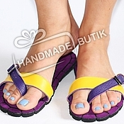 Обувь ручной работы handmade. Livemaster - original item sandals mood of leather and suede with purple. Handmade.