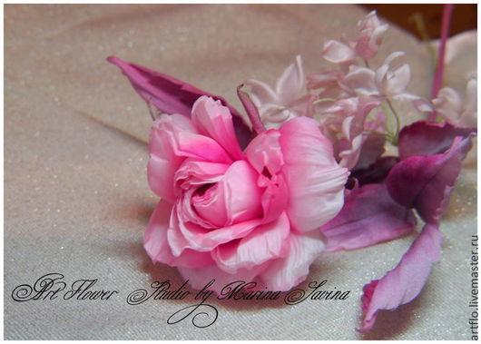 """Цветы ручной работы. Ярмарка Мастеров - ручная работа. Купить Роза из шёлка """"Mademoiselle""""- брошь, украшение в причёску.. Handmade."""