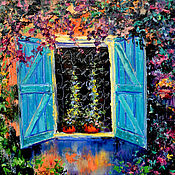 Картины и панно handmade. Livemaster - original item Oil painting on canvas. Flowers. House. Street. Europe. Handmade.
