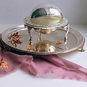 Винтаж handmade. Livemaster - original item Vintage silver plated butter dish caviar bowl with legs England. Handmade.