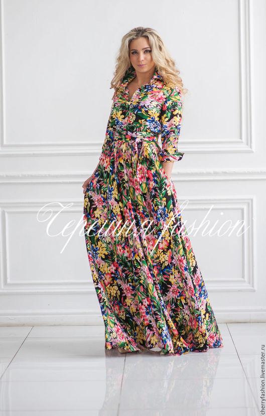 """Платья ручной работы. Ярмарка Мастеров - ручная работа. Купить Платье - рубашка  """"Кристи"""" (тропики). Handmade. Комбинированный, платье рубашка"""