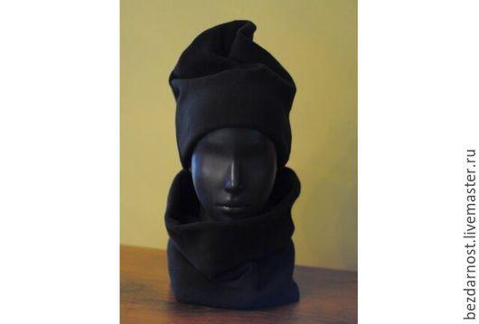 Шапки ручной работы. Ярмарка Мастеров - ручная работа. Купить теплая флисовая шапка. Handmade. Черный, флис, шарфы