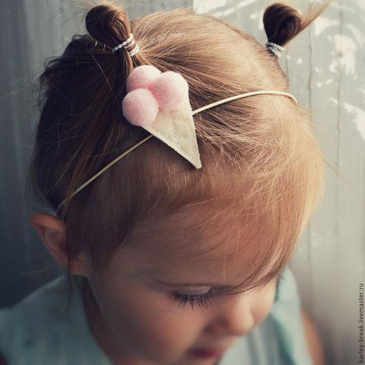 Детская бижутерия ручной работы. Ярмарка Мастеров - ручная работа. Купить Повязка для девочки заколка. Handmade. Розовый, повязка на голову
