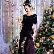 Одежда ручной работы. Ярмарка Мастеров - ручная работа Вечерний комплект из шелка и кашемира Gabriel, длинная юбка и блузка. Handmade.