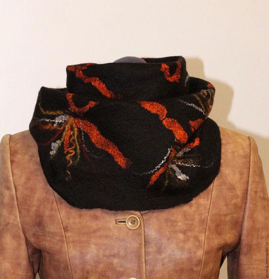 Шарфы и шарфики ручной работы. Ярмарка Мастеров - ручная работа. Купить Валяный шарф снуд Шоколад и апельсин. Handmade.