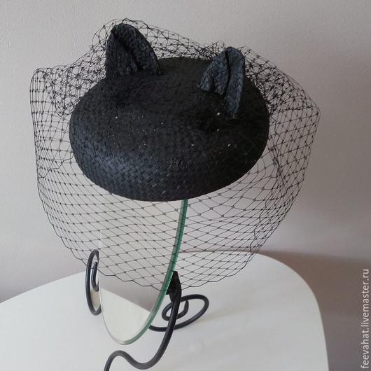 Шляпы ручной работы. Ярмарка Мастеров - ручная работа. Купить соломенная шляпка-берет с ушками. Handmade. Черный, черная шляпка