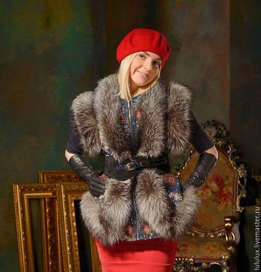 Одежда ручной работы. Ярмарка Мастеров - ручная работа. Купить Меховая - принтовая жилетка с мехом чернобурки GN000/71. Handmade.