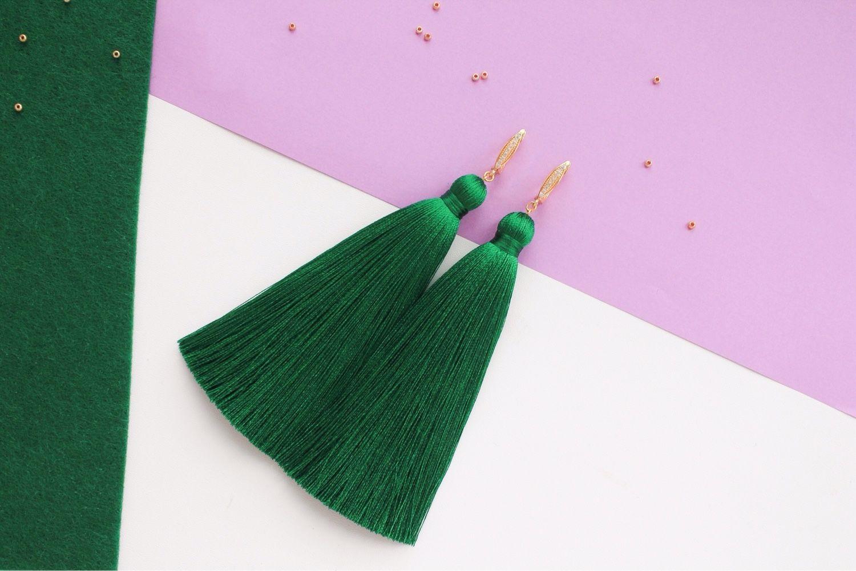 Зеленые серьги-кисти, Серьги, Уфа, Фото №1