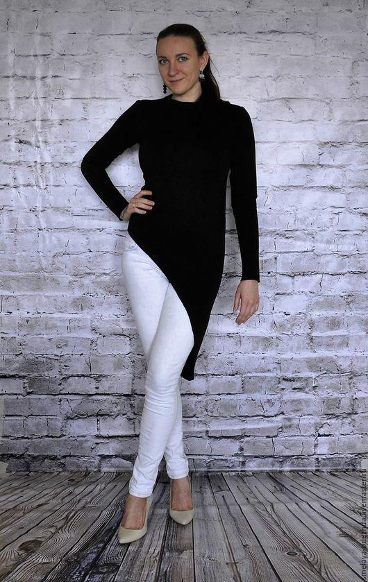Кофты и свитера ручной работы. Ярмарка Мастеров - ручная работа. Купить Черный лонгслив - асимметричная кофта, стильный свитер, из футера. Handmade.