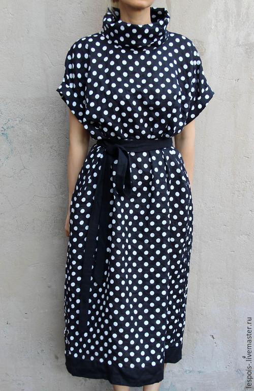 Платья ручной работы. Ярмарка Мастеров - ручная работа. Купить Льняное платье в горошек. Handmade. Черный, льняное платье