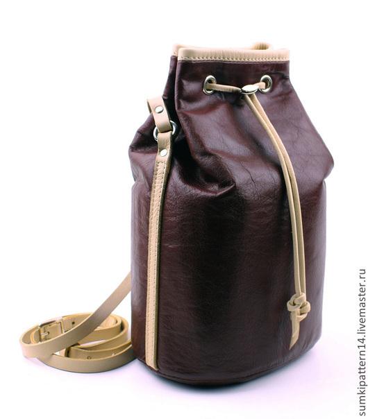 Кожаная торба Pattern Virginia Шоколадно-бежевая