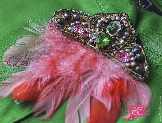 """Броши ручной работы. Ярмарка Мастеров - ручная работа. Купить Брошь """"Полет над гнездом фламинго"""". Handmade. Розовый"""