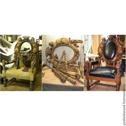 Мебель ручной работы. Ярмарка Мастеров - ручная работа. Купить Перетяжка кресла. Handmade. Комбинированный, мебель из дерева, кресло с ушами