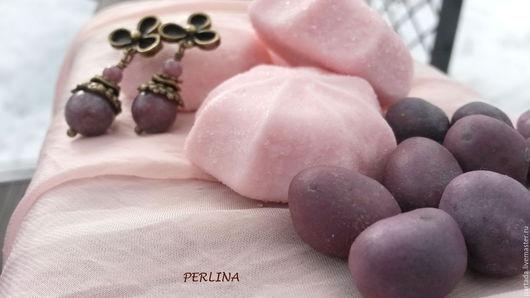 Серьги из розовых камней `Фея `Snow drop` , розовые серьги из натуральных камней турмалина, серьги из камней, купить серьги, купить украшения из турмалина, розовые серьги, сиреневые серьги