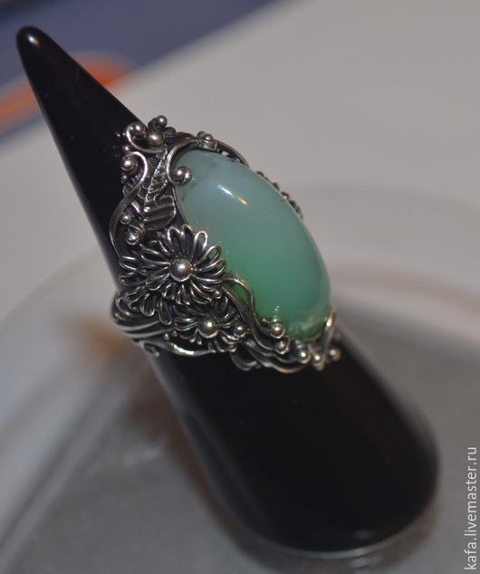 """Кольца ручной работы. Ярмарка Мастеров - ручная работа. Купить кольцо """"Хризантемы"""" с хризопразом. Handmade. Тёмно-бирюзовый"""