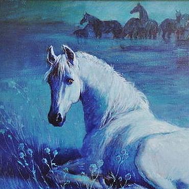 """Картины и панно ручной работы. Ярмарка Мастеров - ручная работа Картина """"Белая кобылица лунной ночью"""". Handmade."""