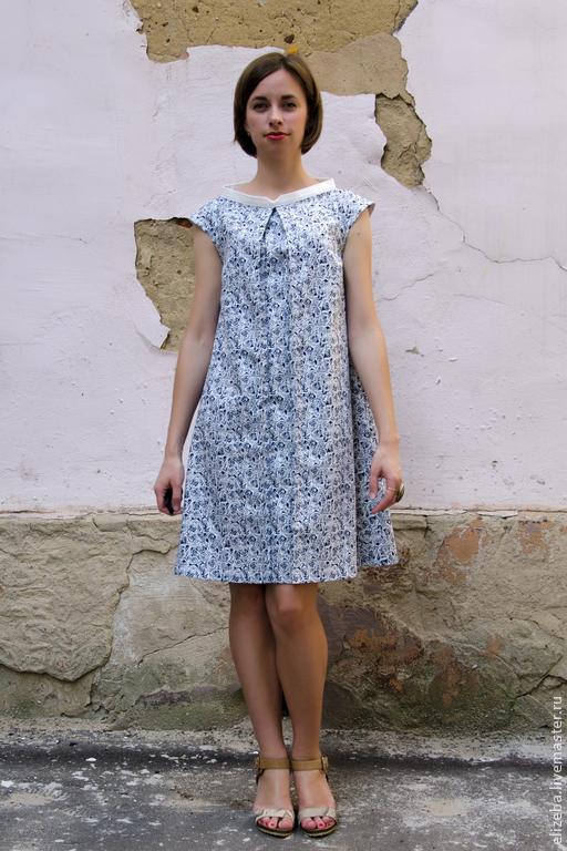 Платье трапеция с воротничками