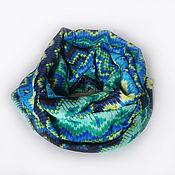 Снуды ручной работы. Ярмарка Мастеров - ручная работа Снуд, шарф-хомут яркий, легкий. Геометрия в синем. Handmade.