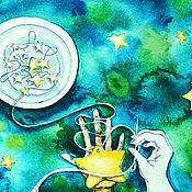 """Картины и панно ручной работы. Ярмарка Мастеров - ручная работа Картина акварелью """"Гирлянда из звезд"""". Handmade."""