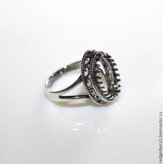 """Для украшений ручной работы. Ярмарка Мастеров - ручная работа. Купить Основа для кольца """"Мария""""(14х10)- серебрение 925 пробы. Handmade."""