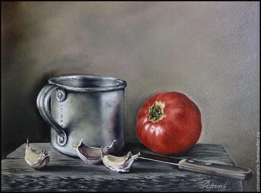 Натюрморт ручной работы. Ярмарка Мастеров - ручная работа. Купить Натюрморт с помидором. Handmade. Комбинированный, подарок женщине, чеснок