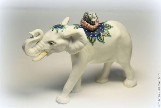 """Статуэтки ручной работы. Ярмарка Мастеров - ручная работа. Купить Слон №7 из серии """"Путешествие"""". Handmade. Разноцветный, путешествие, фарфор"""