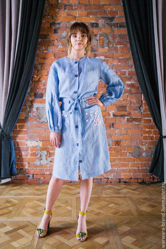 Платье - рубашка WARWARA из голубого льна. Платье в наличии. Все вопросы можно задать по whatsapp/viber/tel +7-925-200-8551 или в ЛС. Возможно исполнение в других цветах и тканях.