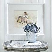 Картины и панно ручной работы. Ярмарка Мастеров - ручная работа Оформленная картина «Галоп», акварель/белила/бумага. Handmade.